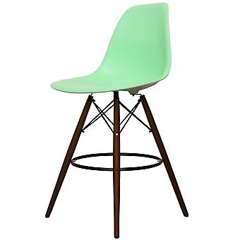 Charles Eames Style Peppermint Green Plastic Bar Stool - Walnut Legs