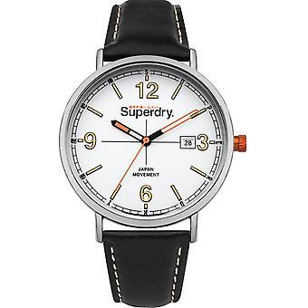 SUPERDRY SYG190B watch - Orologio Bracciale in pelle nera uomo di livello in acciaio Bo