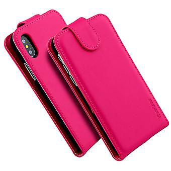 For iPhone XS,X Case,iCoverLover Vertical Flip Genuine Leather Cover,Magenta