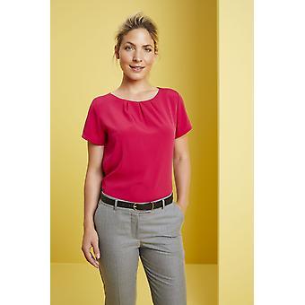 SIMON JERSEY Women's Short Sleeve Pleat Neck Blouse, Hot Pink
