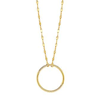 14k Yellow Gold Circle Piatto Chain Adjustable Necklace 18 Inch Jewelry Gifts for Women - 1.8 Grams