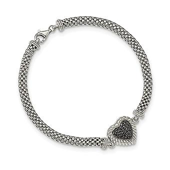 925 Sterling Silver Black CZ Cubic Zirconia Simulated Diamond Love Heart Mesh Link Bracelet 7.5 Inch Jewelry Gifts for W