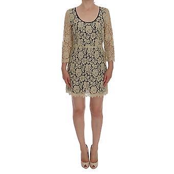 Dolce & Gabbana Bege Floral Lace Short Mini Shift Dress