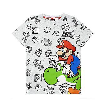 Nintendo Super Mario T-Shirt pour les garçons | Kids Grey Character Yoshi Top | Tee-shirt à manches courtes pour les anniversaires