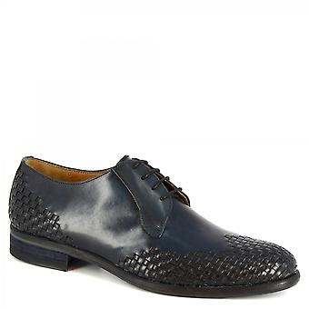 Leonardo Shoes Men's handmade oxford shoes in black woven calf leather