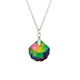 Eternal Collection Seashell Green Vitrail Crystal Silver Tone Pendant