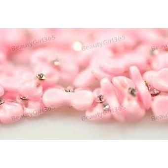 10pcs Pink 3D Acrylic Bow Tie Resin Decoration Nail Art Rhinestone Beads by Boolavard® TM