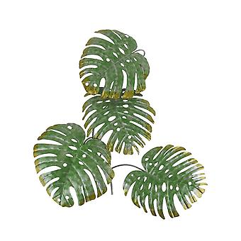 17 Inch Green Metal Palm Leaf Sculpture Wall Hanging Art Tropical Tree Decor