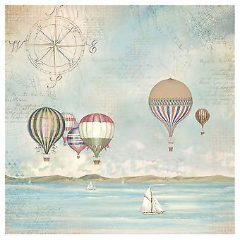 "Stamperia Rice Paper Napkin 19.5""X19.6""-Sea Land Balloons"