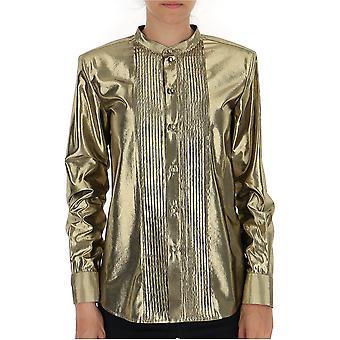 Saint Laurent 575010y334v8000 Women's Gold Viscose Shirt