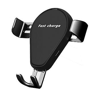 Bakeey 2 in 1 10w qi wireless fast charging gravity auto lock car phone holder stand for iphone 11 xiaomi (black)