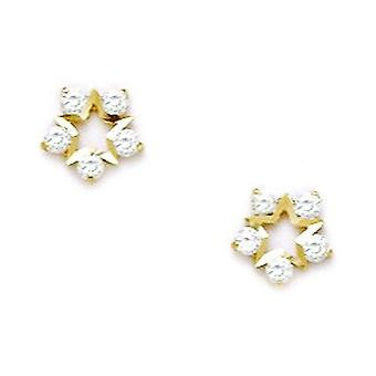 14k Yellow Gold CZ Cubic Zirconia Simulated Diamond Small Star Screw back Earrings Measures 7x7mm Jewelry Gifts for Wome
