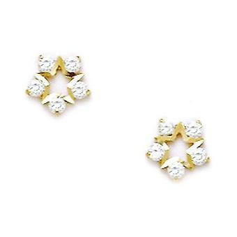 14k Yellow Gold CZ Cubic Zirconia Gesimuleerde Diamond Small Star Schroef terug Oorbellen maatregelen 7x7mm sieraden geschenken voor Wome