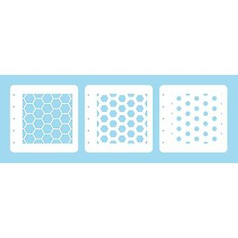 Nellie's Choice Layered combi stencil set (conjunto de 3) Honeycomb LCSH001 125x125mm (02-20)