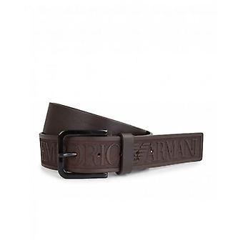 Armani Belts Leather Script Logo Belt