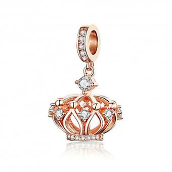 Sterling Silver Pendant Charm Crown Rose Gold Plated - 6086