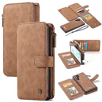 For Samsung Galaxy Note 10+ Plus Case, Wallet PU Leather Flip Cover, Brown