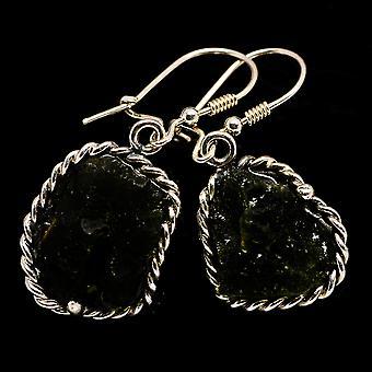 """Czech Moldavite Earrings 1 1/2"""" (925 Sterling Silver)  - Handmade Boho Vintage Jewelry EARR400182"""