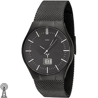 Relógio do JOBO Black Watch rádio rádio relógio aço inoxidável homens com data