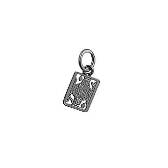Silver 11x9mm King Playing Card Pendant or Charm