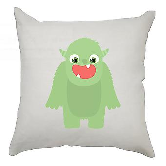 Monster Cushion Cover 40cm x 40cm - Green Monster With Horns
