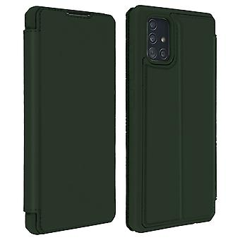 Genuine Leather Stand Folio Case with Card Slots for Galaxy A51-Dux Ducis, Green