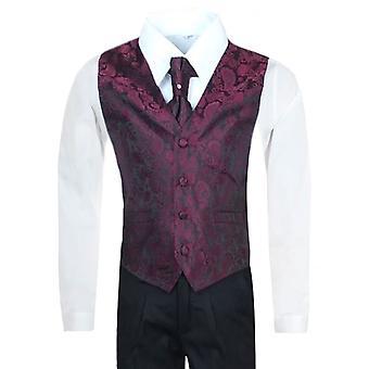 Boys Burgundy Waistcoat Suit Set