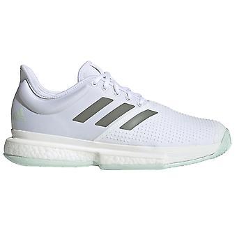 adidas SoleCourt Mens Tennis Court Trainer Scarpa Bianco/Verde