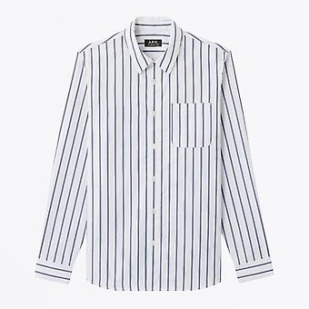 A.P.C.  - Rami - Cotton Striped Shirt - White/Blue
