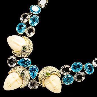 "Carved Face, Blue Topaz, White Quartz, Peridot Necklace 18"" (925 Sterling Silver)  - Handmade Boho Vintage Jewelry NEC11928"