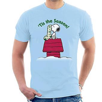 Erdnüsse Snoopy Tis die Saison festliche Strumpf Herren's T-Shirt