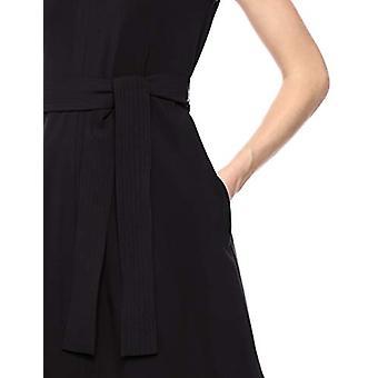 Brand - Lark & Ro Women's Sleeveless Split Crew Neck Belted A-Line Dress with Pockets, Black 10