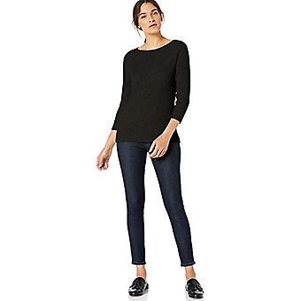 Marque - Lark & Ro Women&apos&s 3/4 Sleeve Ballet Neck Rib Sweater, Noir, X...