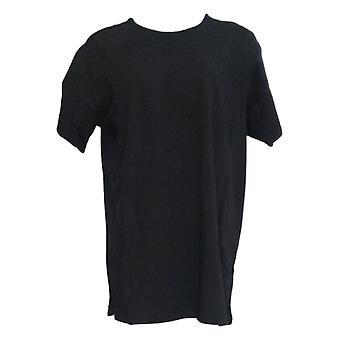Denim & Co. Damen's Top Jersey Rundhals-Ellenbogen-Sleeve Schwarz A372189