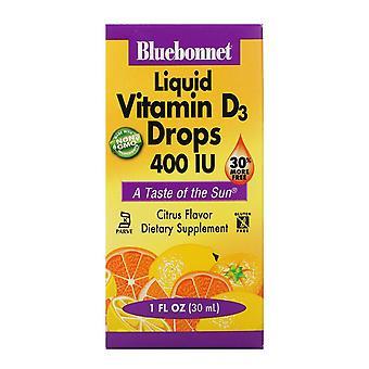 Nutrition Bluebonnet, Gouttes de vitamine D3 liquide, Saveur naturelle d'agrumes, 400 UI, 1