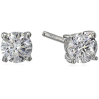 Platinum Plated Sterling Silver Stud Earrings set, Platinum-plated, Size 3.0