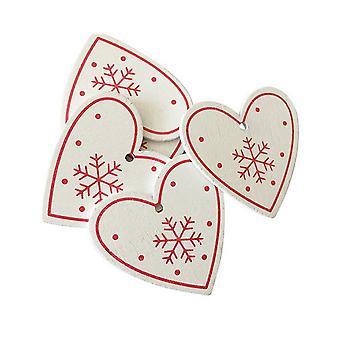50PCS Pingentes de Madeira Árvore de Natal DIY Decoração Decor Em forma de coração branco