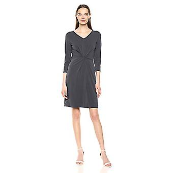 Lark & Ro Women's Crepe Knit Three Quarter Sleeve Center Twist Dress, Grey Eb...