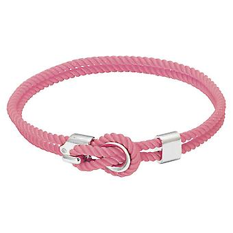 Rochet B3204010 pulsera - Marinero de acero y cordón algodón rosa Femme