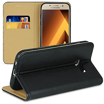Book case with card compartment for Samsung Galaxy A3 (2017) Leatherette Microfiber Black
