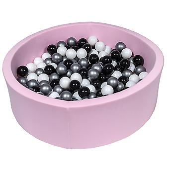 Różowy pit kulowy 90 cm z 300 kulkami czarnymi, białymi i srebrnymi