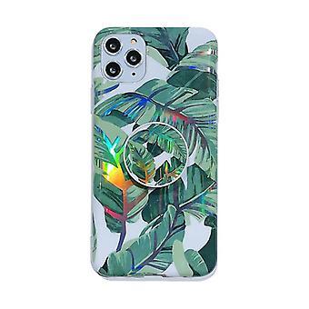 Iskunkestävä mobiilikotelo, jossa pidike iPhone 11 Pro Maxille - Vihreät lehdet