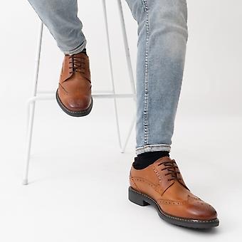Basis London Lennox Herren Leder Wingtip Derby Schuhe Tan