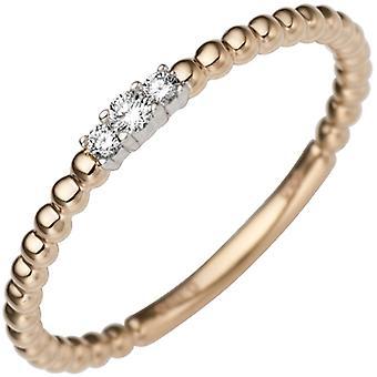 Kvinnors ring smal delikat 585 guld röd guld vit guld bicolor 3 Diamanter Brilliant