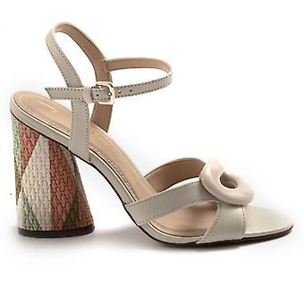 Beige Tabita Sandals with Multicolor Decorated Heel