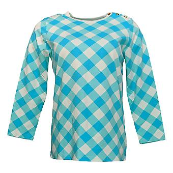 Bob Mackie Women's Top Gingham_Check Pullover W/Button Detail Blue A303016