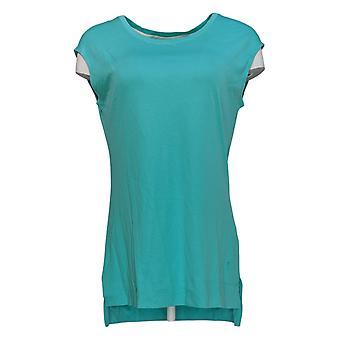 Isaac Mizrahi Live! Women's Top Cotton Curved Hem T-Shirt A288195