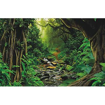 Wallpaper Mural Tropical Jungle With River (400x260 cm)