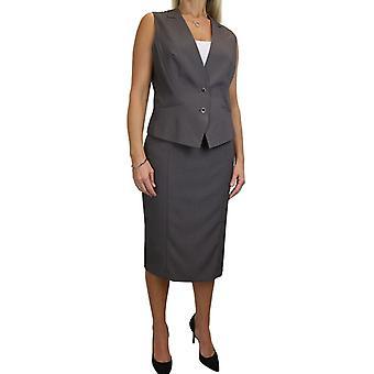 Women's Dressy Waistcoat Skirt Suit Ladies Lined Work Vest Coat Pencil Skirt Office Business Uniform 10-20