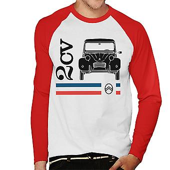 Citro�n Black 2CV Racing Stripes Men's Baseball Long Sleeved T-Shirt